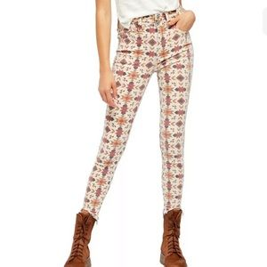 Free People Women's Ivory Skinny Jeans Pant 24X28